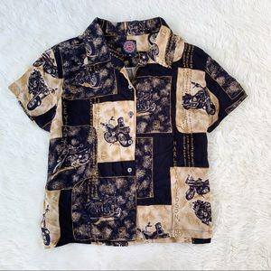 Harley Davidson • vintage crop button up blouse